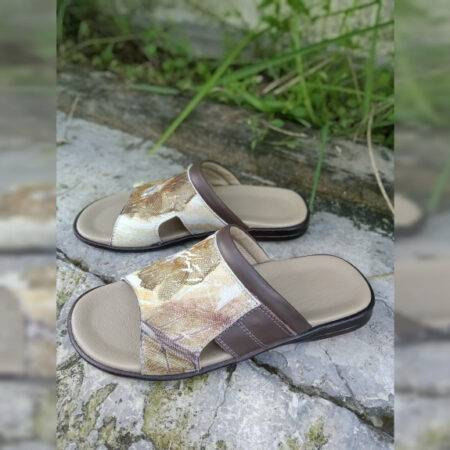 Sandal Ecoprint Pria - Sabda Batik - Jombang, eMBe UMKM, Gerakan Warga GKJW